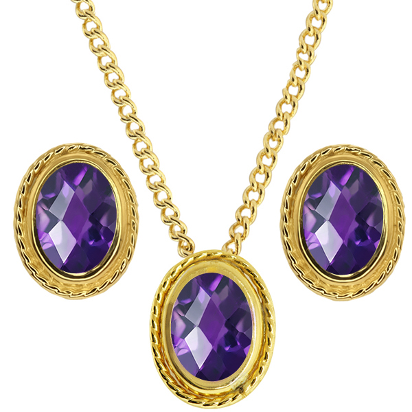 2.25 Ct Oval Checkerboard Purple Amethyst 925 Yellow Gold Plated Silver Pendant Earrings Set