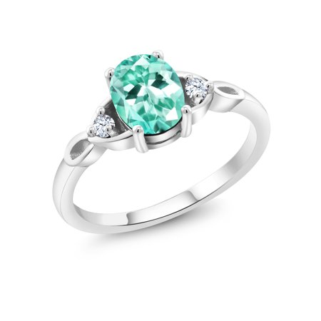 Blue Apatite Ring - 1.28 Ct Oval Blue Apatite White Created Sapphire 925 Sterling Silver Ring