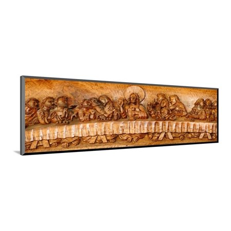 Last supper sculptures carving on wall, Vigan, Ilocos Sur, Philippines Wood Mounted Print Wall Art