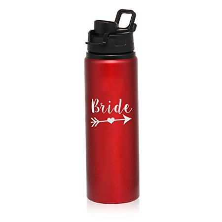 MIP Brand 25 oz Aluminum Sports Water Travel Bottle Bachelorette BRIDE Tribe (Red) - Bachelorette Gear