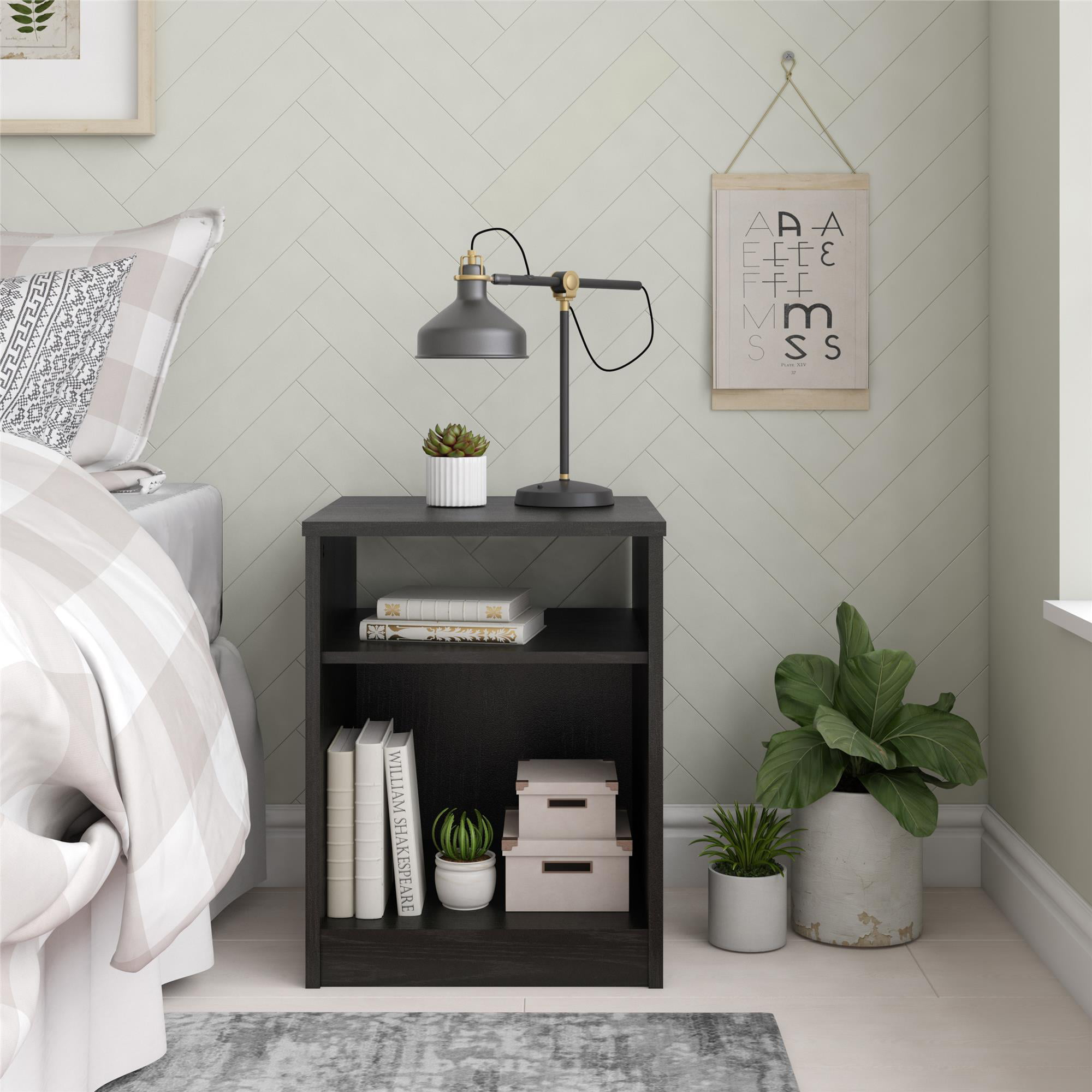 Mainstays Classic Open Shelf Nightstand Black Oak Walmart Com Walmart Com