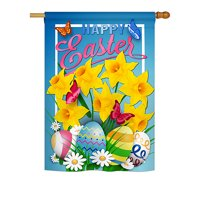 """Angeleno Heritage H137154-BO Daffodils Easter Spring Impressions Decorative Vertical 28"""" x 40"""" Double Sided House Flag"""