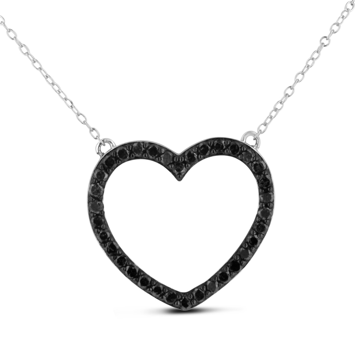 1ct Black Diamond Heart Necklace Crafted In Solid Sterling Silver, 18 Inches