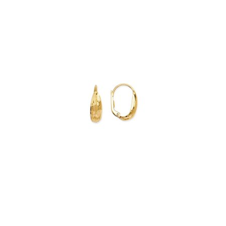 Ribbed Lever - 14k Yellow Gold Fancy Ribbed Lever Back Earrings - 2.1 Grams
