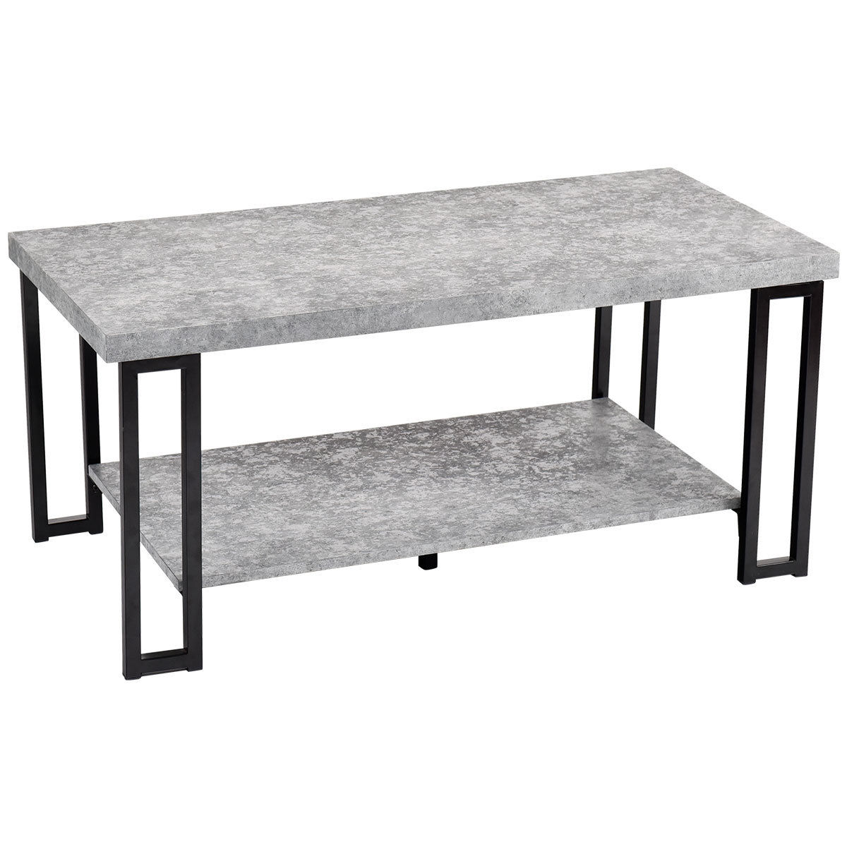 Costway Accent Coffee Table Modern Living Room Furniture Metal Frame W Lower Shelf