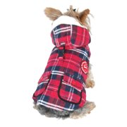 Red Plaid Dog Puppy Vest Jacket Stuffed Parka with Hat - Small