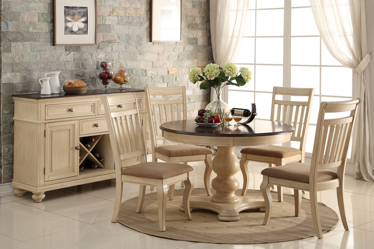 Formal Traditional Dining Room Furniture 5pc Dining Room Set Cream 4x Side Chairs Round Dining Table Cushioned Seat... by Poundex