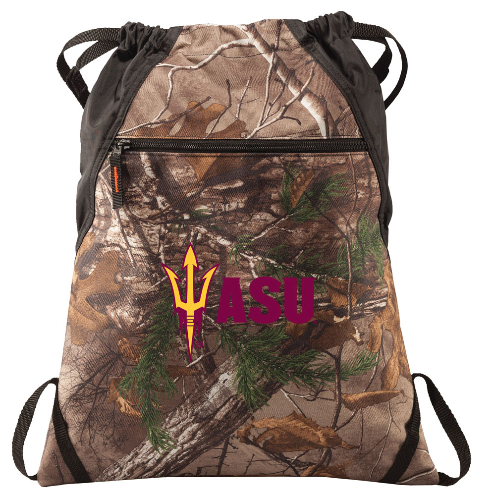 RealTree Camo Arizona State Cinch Pack Backpack Official Arizona State Camo Drawstring Backpack for Him or Her