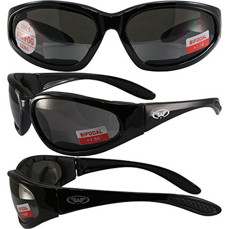 Global Vision Hercules Padded Motorcycle Safety Sunglasses Black Frame +1.5 Magnification Smoke Lens