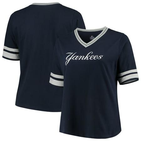 New York Yankees Women's Plus Size V-Neck Jersey T-Shirt - Navy/Gray (Plus Size Baseball Jersey)