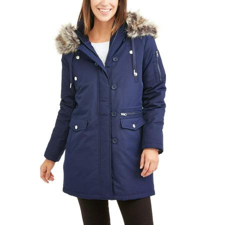 Swiss Tech Women's Parka Jacket With Faux Fur-Trim Hood - Walmart.com