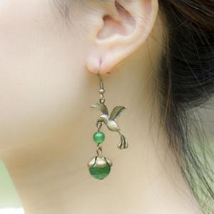 Fancyleo Bronze Alloy Bird Earrings Green Bead Charm Vintage Ethnic Coins Tassel Drop Earrings Women Jewelry