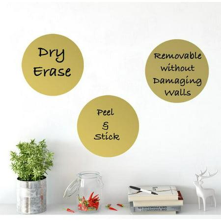 Dry Erase Dot Wall Decals: Peel & Stick, Writable, Erasable (3 Gold Dots)