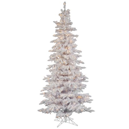 9 pre lit flocked white spruce slim christmas tree clear led lights - Slim Christmas Tree With Led Lights