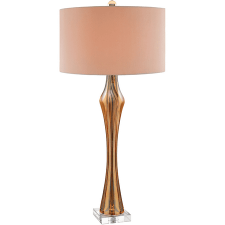 Table Lamps 1 Light Fixtures With Amber and Clear Finish Glass Crystal Material 16 inch Wide 100 Watts ()