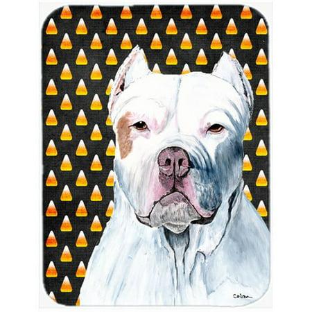 Pitbull Halloween (Caroline's Treasures Halloween Candy Corn Pit Bull Portrait Glass Cutting)