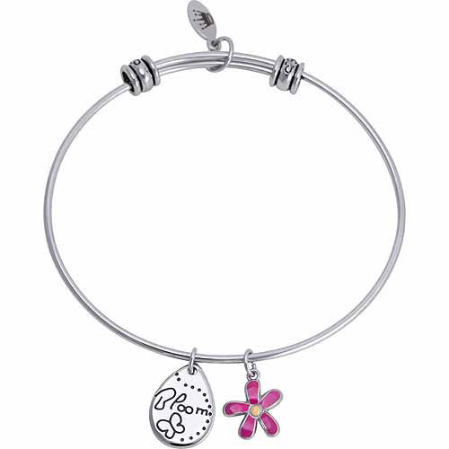 Connections from Hallmark Stainless Steel Bloom Multi-Charm Bangle