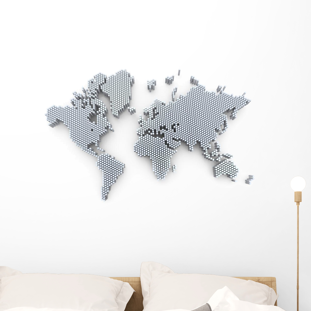Animals World Map Kids Room Wall Decal 3D Reusable Large Stickers