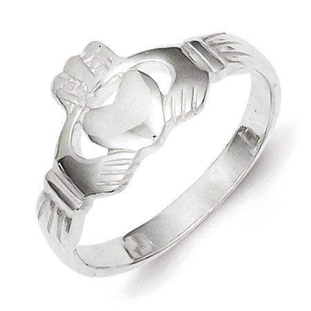 Ladies 925 Sterling Silver Polished & Textured Claddagh Band Ring Size 8