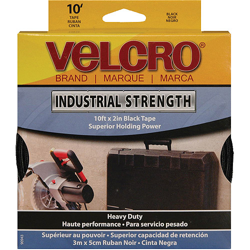 "Velcro Sticky Back Industrial Strength Tape, 2"" x 10', Black"