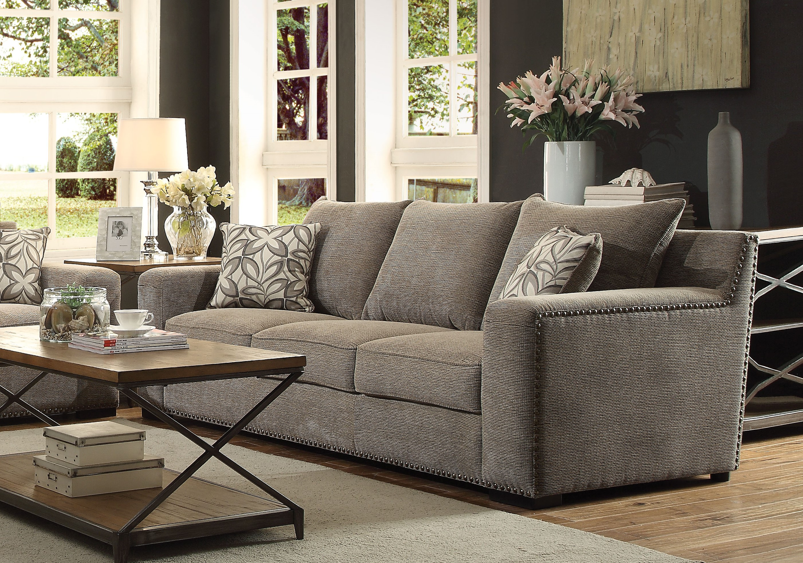 ACME Ushury Down Feather Sofa With 2 Pillows In Gray Chenille
