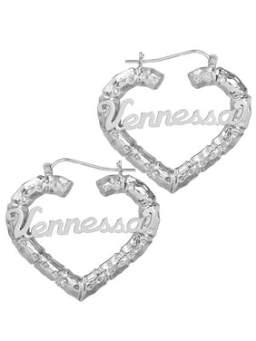 Sterling Silver Personalized Bamboo Style Heart Polished Name Earrings