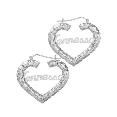 Sterling Silver Personalized Bamboo Style Heart Polished Name Earrings 14k Gold Plated Labret