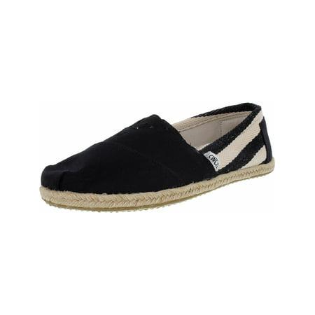 24475fca5d6 Toms - Toms Women s Classic Striped Canvas Black Stripe University  Ankle-High Flat Shoe - 8.5M - Walmart.com