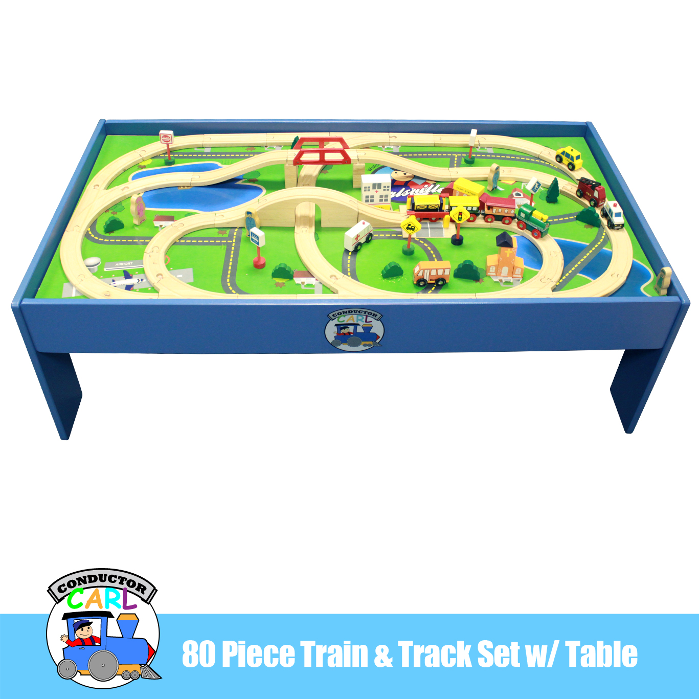 Conductor Carl 80 Piece Train Table and Playboard Set. 100% Compatible with Thomas the  sc 1 st  Walmart & Conductor Carl 80 Piece Train Table and Playboard Set. 100 ...