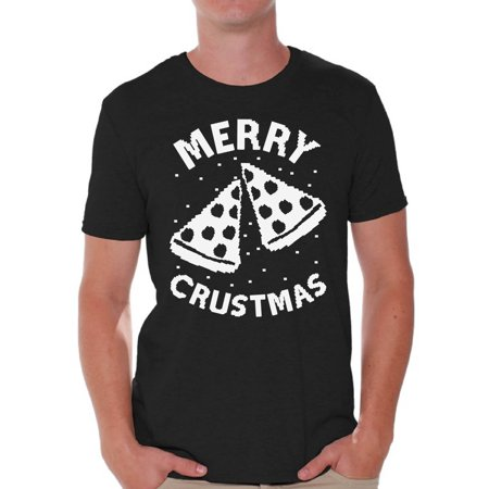 Awkward Styles Merry Crustmas Christmas Tshirts for Men Pizza Christmas Shirts Merry Christmas Men's Holiday Tee Ugly Christmas Shirt Men's Holiday Top Christmas Holiday Gift Idea For Pizza Lovers - Ideas For Christmas