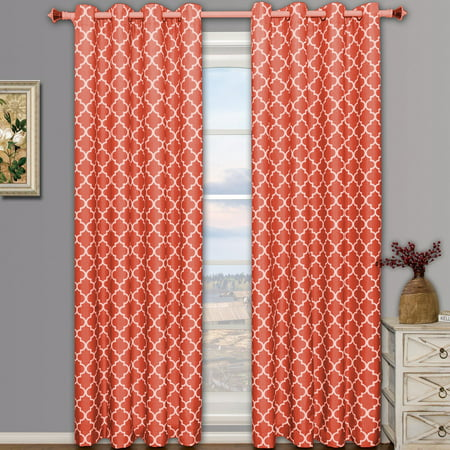 Pair Meridian Room Darkening Thermal-Insulated Grommet Window Curtain Panels ( Set of 2 ) - Coral - 104x84 ()