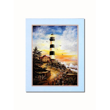 Art Com Victorian Print - Lighthouse with Victorian Cottage by the Sea #2 Wall Picture 8x10 Art Print