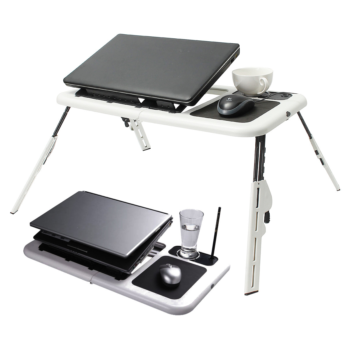 Folding Laptop Notebook laptoptray Table Stand Tray Desk With USB Cooling Fans For Sofa Bed Carpet Lawn