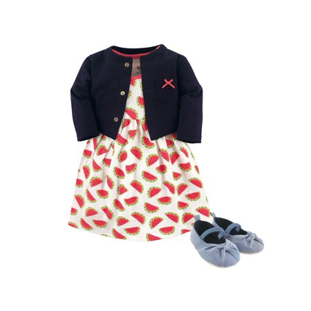 Cardigan, Dress & Shoes, 3pc Outfit Set (Baby Girls)