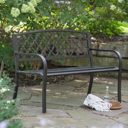 Coral Coast Crossweave Curved Back 4-ft. Metal Garden Bench ()