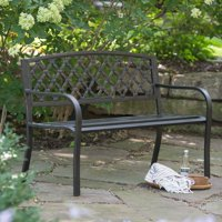 Coral Coast Crossweave Curved Back 4-ft. Metal Garden Bench