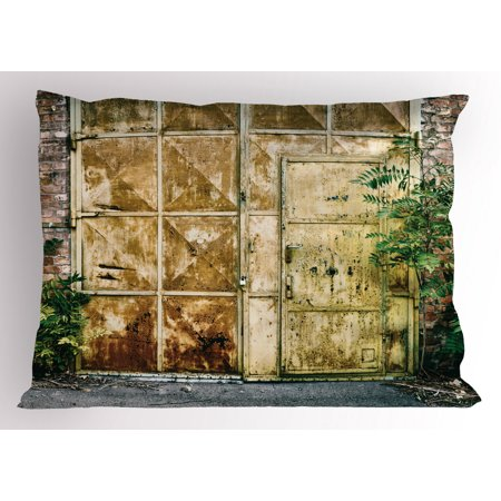 Industrial Pillow Sham Rustic Brick House Still Door with Moss and Dirt Urban Garage Outdoor Image, Decorative Standard Size Printed Pillowcase, 26 X 20 Inches, Green Yellow, by