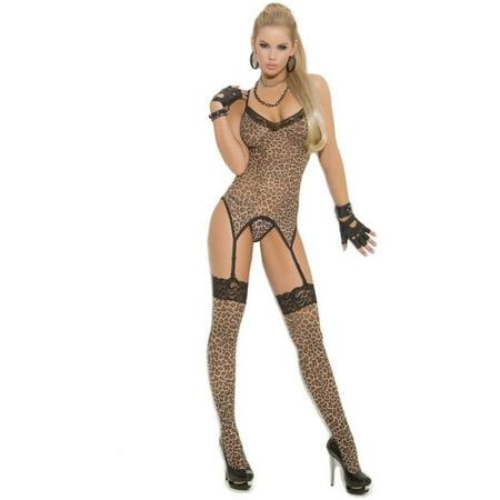 Elegant Moments EM-1411 3 PC Set Camisette G-string and Stockings Leopard / (G-string Leopard)