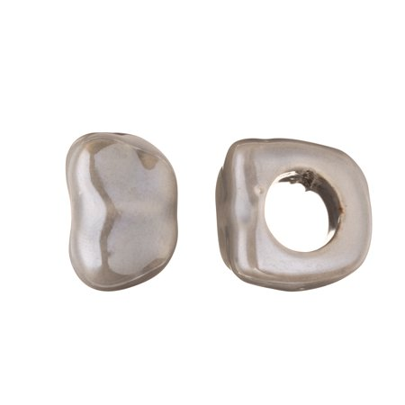 Nugget Licorice Ceramic Bead Fits 10x8mm Licorice Leather Grey Glazed Finished (Grey Nugget)