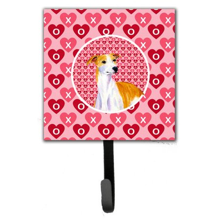 Caroline's Treasures Whippet Valentine's Love and Hearts Leash Holder and Wall Hook