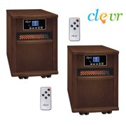 LOT X2 Clevr Portable Electric 1500w Infrared Heater Quartz w/ Remote Fireplace