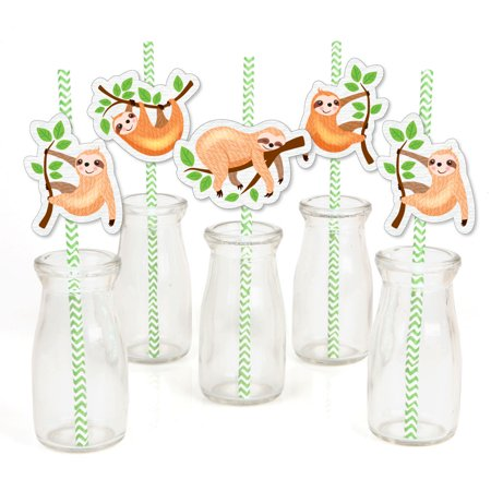 Let's Hang - Sloth - Paper Straw Decor - Baby Shower or Birthday Party Striped Decorative Straws - Set of 24 (Green And White Paper Straws)