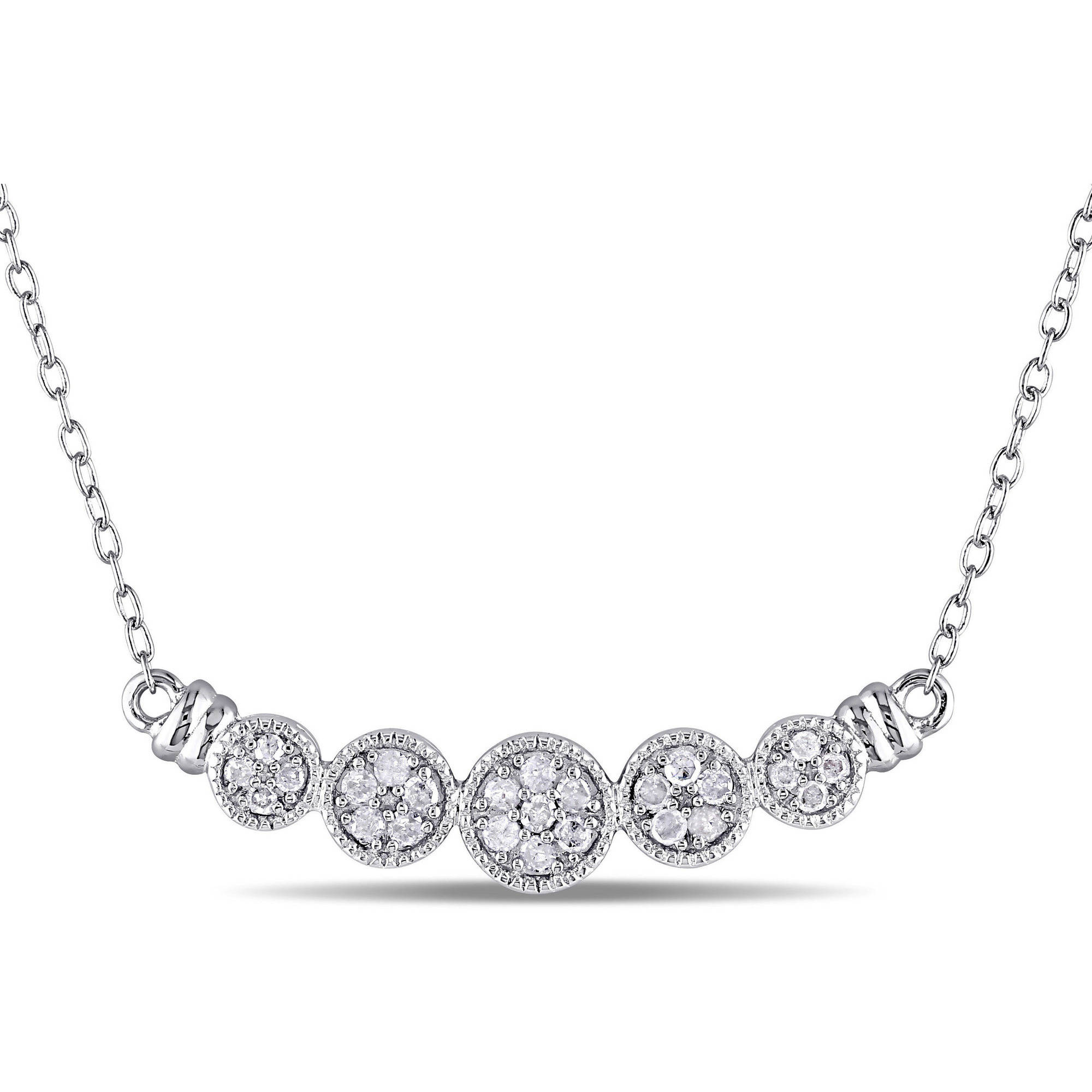 "Miabella 1/4 Carat T.W. Diamond Sterling Silver Floral Cluster Necklace, 18"""