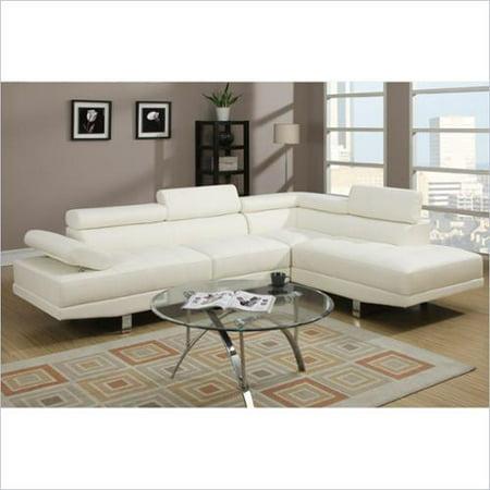 poundex bobkona atlantic 2 piece sectional sofa in white With bobkona atlantic 2 piece sectional sofa
