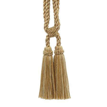 Beautiful Harvest Gold, Straw, Cream Curtain & Drapery Double Tassel Tieback|5 1/2