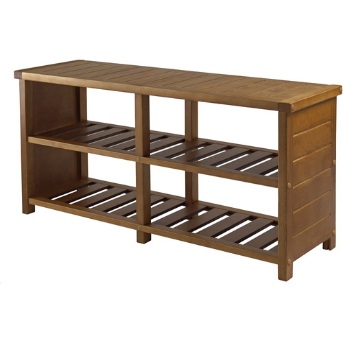 Keystone Entryway Bench with Shoe Storage, Teak