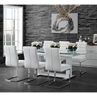 Picket House Furnishings Soho 7-Piece Dining Set in White-Table & Six Side Chairs