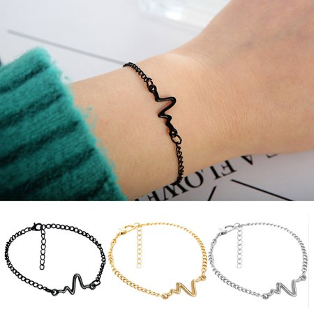 Simple Personality Design Ecg Lightning Bracelet Couple Bracelets Fashion - image 6 of 7