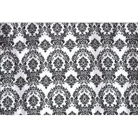 Velvet Taffeta - Black White Flocking Damask Taffeta Velvet Fabric 58