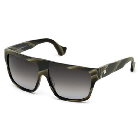 Balenciaga BA0056-61B-58 Square Women's Green Horn Frame Grey Lens Sunglasses